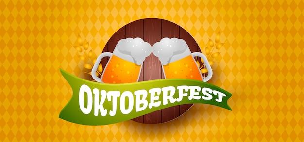 Ilustracja transparent oktoberfest z piwem