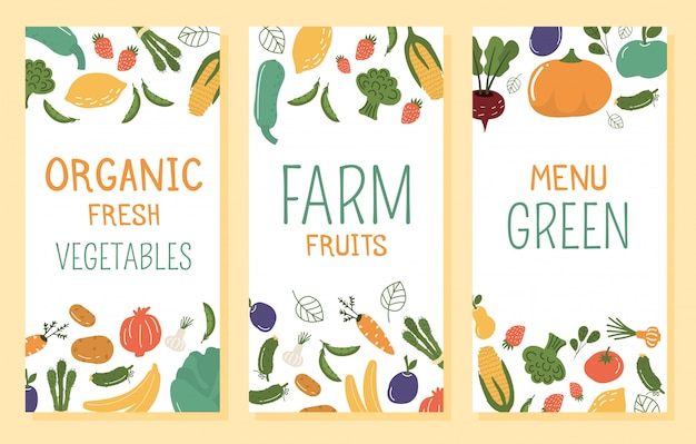 Ilustracja transparent owoców i warzyw.