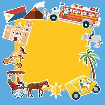 Ilustracja transparentu charakterystycznych miejsc i ikon filipin,