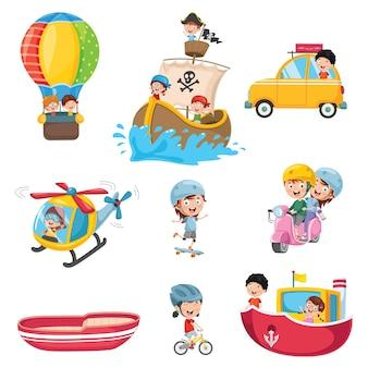 Ilustracja transportu dzieci