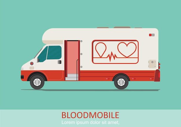 Ilustracja transportu opieki zdrowotnej mobilny van krwi. specjalny pojazd medyczny do oddawania krwi. ilustracja pojazdu mobilnego centrum krwiodawstwa.
