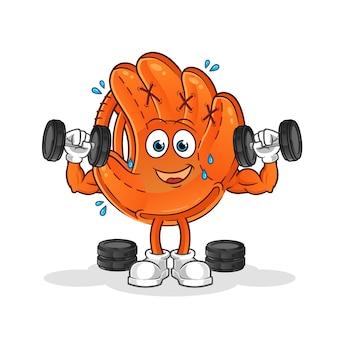 Ilustracja treningu siłowego rękawiczki baseballowej