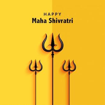 Ilustracja trishul dla karty z pozdrowieniami festiwalu shivratri