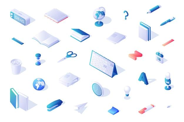 Ilustracja trójwymiarowych ikon w kolorze niebieskim