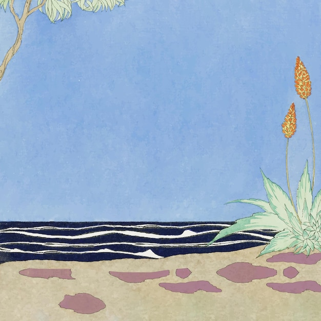 Ilustracja tropikalnej plaży, remiks z dzieł george'a barbier