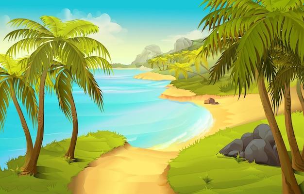 Ilustracja tropikalnej plaży
