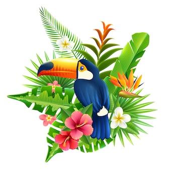 Ilustracja tropikalnych kwiatów