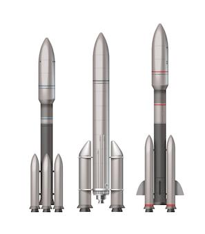 Ilustracja trzech różnych rakiet kosmicznych