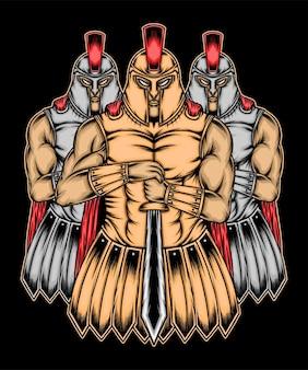 Ilustracja trzech spartańskich wojowników. wektor premium