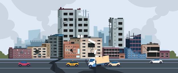 Ilustracja trzęsienia ziemi miasta
