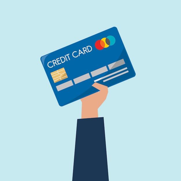Ilustracja trzyma kredytową kartę ręka