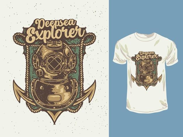 Ilustracja tshirt nurka nurka głębinowego