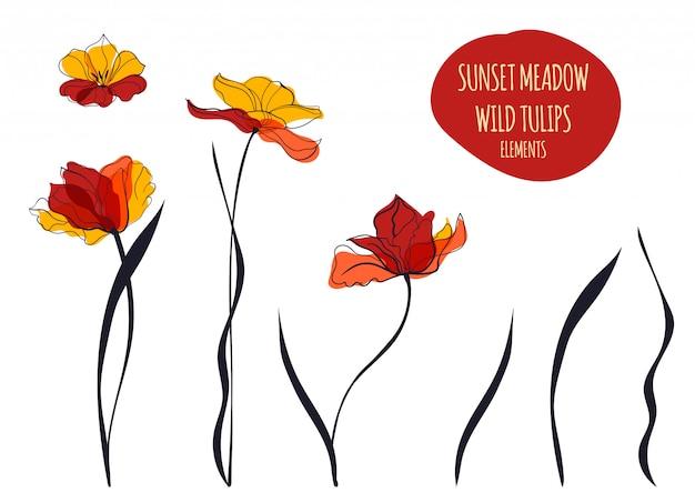 Ilustracja tulipany zachód słońca w stylu skandynawskim