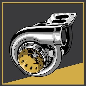 Ilustracja turbo na białym tle
