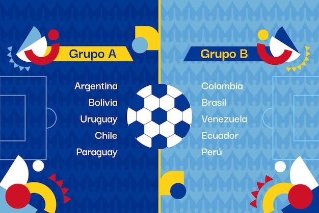 Ilustracja turnieju piłki nożnej organiczne płaskie mieszkanie południowoamerykańskie