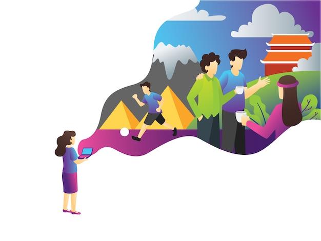 Ilustracja turystycznych turystycznych wakacje