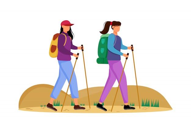 Ilustracja turystyki budżetowej. wędrówki. tani wybór w podróży. aktywne wakacje młode kobiety na górskiej wycieczce. chodzący wycieczki turysycznej postać z kreskówki na białym tle