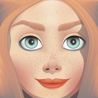Ilustracja twarz dziewczyny.