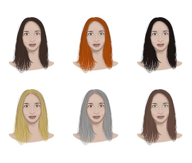 Ilustracja twarzy kobiety z różnymi kolorami włosów i oczu