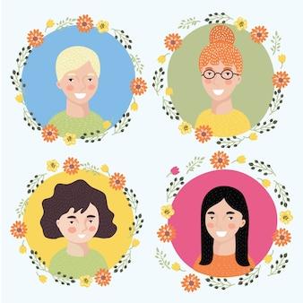 Ilustracja twarzy kobiety zestaw z dziewczyną.