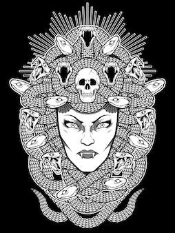 Ilustracja twarzy meduzy
