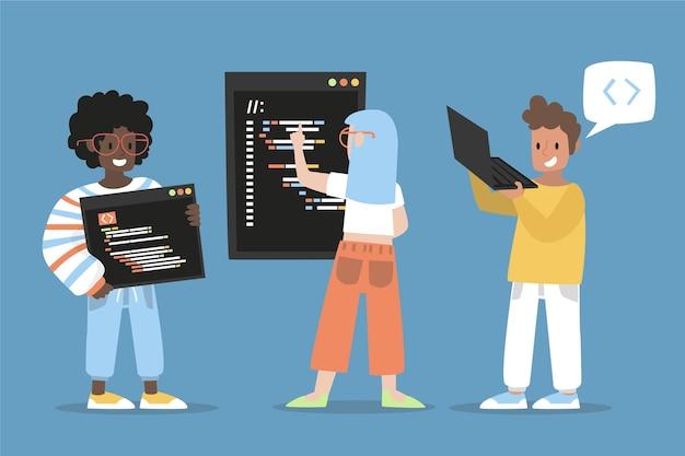 Ilustracja twórców stron internetowych z płaskiej ręki