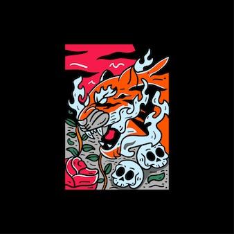 Ilustracja tygrys japoński styl na koszulkę