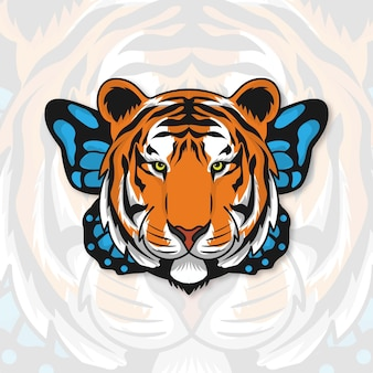 Ilustracja tygrysa i motyla