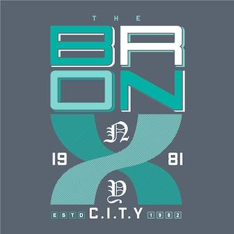 Ilustracja typografii graficznej bronx, ny city dla t shirt