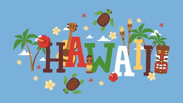Ilustracja typografii na hawajach, okładka broszury biura podróży, broszura informacyjna,