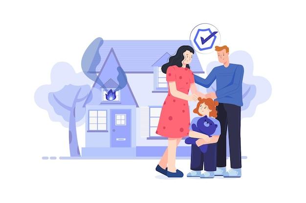 Ilustracja ubezpieczenia domu i ognia