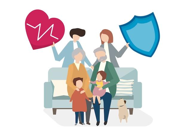 Ilustracja ubezpieczenia na życie rodzinne