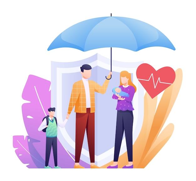 Ilustracja ubezpieczenia na życie z rodziną pod parasolem i tarczą zapasową jako koncepcja. tej ilustracji można użyć w przypadku witryny internetowej, strony docelowej, sieci, aplikacji i banera.