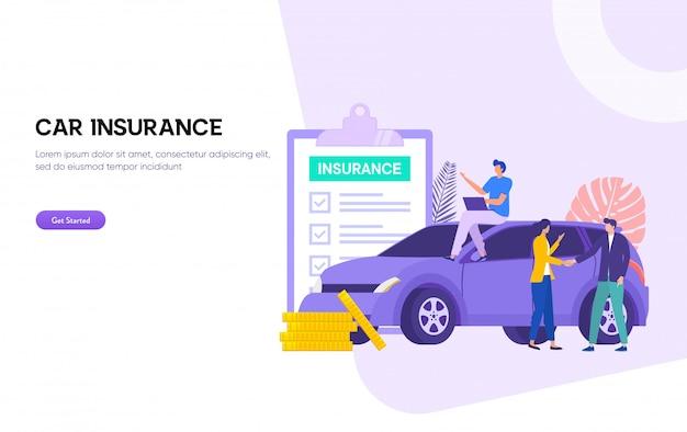 Ilustracja ubezpieczenia samochodu. mężczyzna i kobieta mają do czynienia z agentem ubezpieczeniowym i formularzem podpisu,
