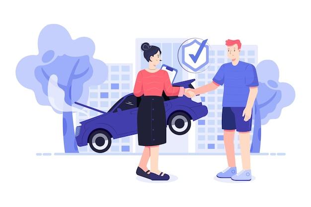 Ilustracja ubezpieczenia samochodu