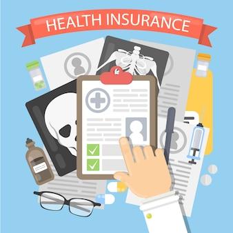 Ilustracja ubezpieczenia zdrowotnego. dokumenty osobiste, karty i zdjęcia rentgenowskie.