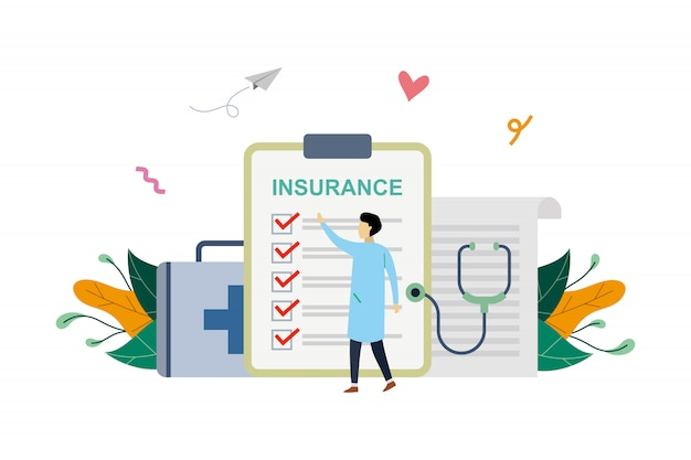 Ilustracja ubezpieczenia zdrowotnego, malutki lekarz wypełnienie dokumentu medycznego w stylu płaski
