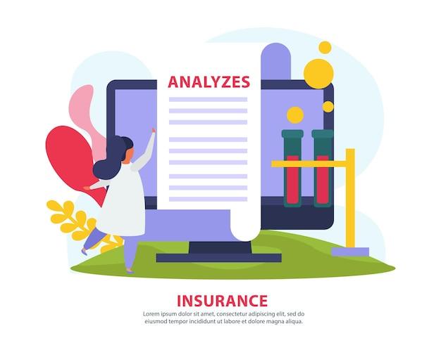 Ilustracja ubezpieczenia zdrowotnego z wynikiem analizy medycznej online