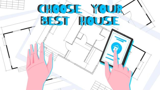 Ilustracja układu mieszkania z wyborem najlepszego domu i nagłówka w kolorze niebieskim