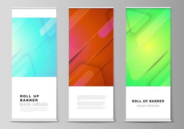Ilustracja układu roll up standów banerowych, ulotek pionowych, szablonów biznesowych. futurystyczny projekt technologii, kolorowe tła z kompozycją płynnych kształtów gradientu.