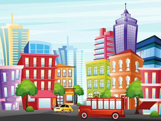 Ilustracja ulicy miasta z zabawnymi kolorowymi budynkami, drapaczami chmur, drzewami, taksówką i autobusem na jasnym tle nieba w stylu płaskiej kreskówki.
