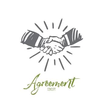 Ilustracja umowy w wyciągnąć rękę