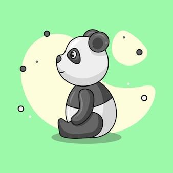 Ilustracja uroczej męskiej pandy siedzącej