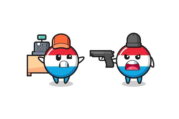 Ilustracja uroczej odznaki flagi luksemburga, gdy kasjer wskazuje pistolet przez złodzieja, ładny styl na koszulkę, naklejkę, element logo