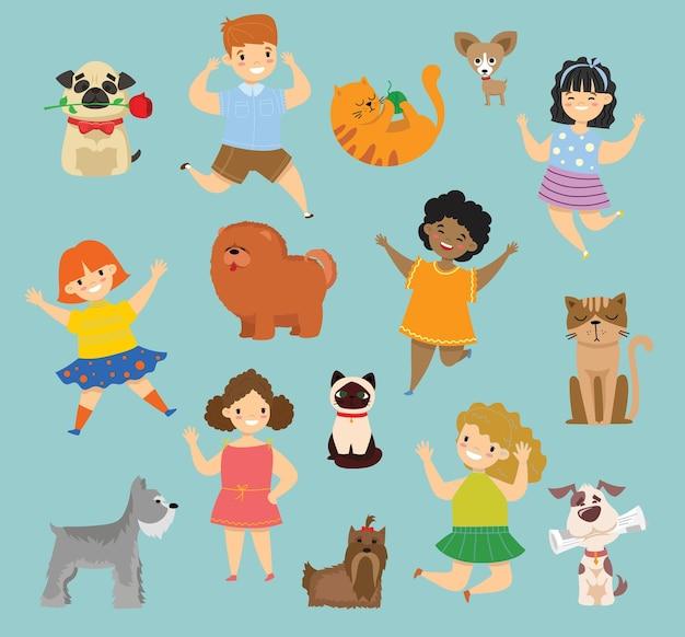 Ilustracja uroczych szczęśliwych dzieci z ich psami i kotami w stylu płaskim