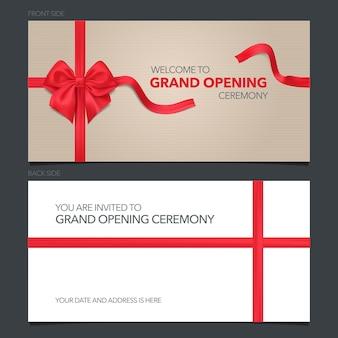 Ilustracja uroczyste otwarcie, karta z zaproszeniem.