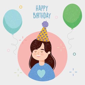 Ilustracja urodzinowa ze szczęśliwą dziewczyną