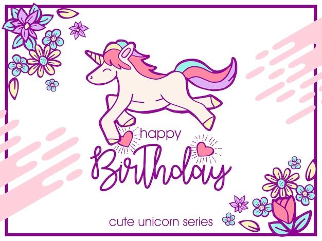 Ilustracja urodziny słodkie pozdrowienia jednorożca