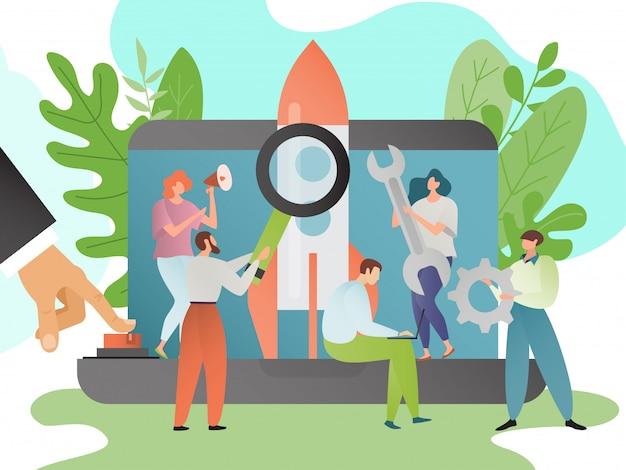 Ilustracja uruchamiania. koncepcja rozpoczęcia działalności gospodarczej. ludzie postaci z kreskówek z lupa, megafon, sprzęt, klucz uruchomić rakietę.