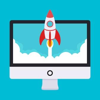 Ilustracja uruchamiania. rakieta startuje z monitora w chmurach białego dymu